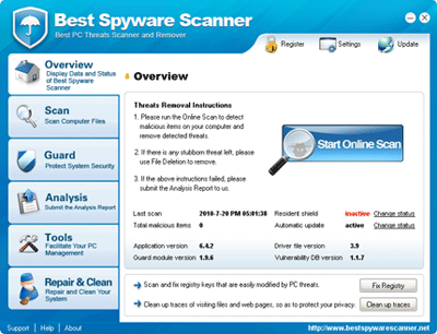 Best Spyware Scanner Main Interface