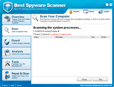 Best Spyware Scanner Scanning Process