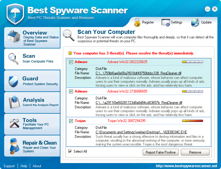 Best Spyware Scanner Scan Results